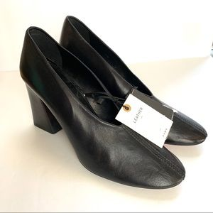 Zara leather shoes wooden block heel size 8 NWT